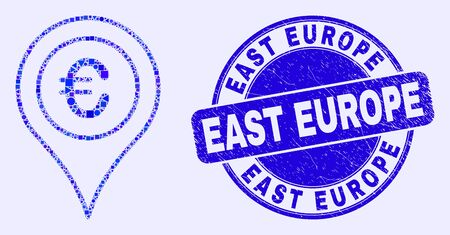 Geometric euro map marker mosaic pictogram and East Europe watermark. Blue vector rounded distress watermark with East Europe phrase. Abstract composition of euro map marker created of round, tringle, Ilustração