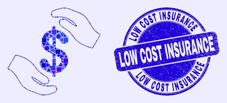 Geometric hands care dollar mosaic pictogram and Low Cost Insurance stamp. Blue vector round distress seal stamp with Low Cost Insurance phrase. Abstract collage of hands care dollar made of round, Ilustração