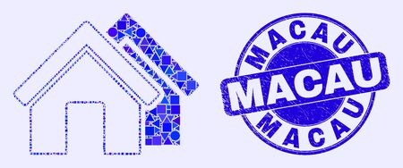 Geometric houses mosaic pictogram and Macau watermark. Blue vector round distress watermark with Macau message. Abstract mosaic of houses composed of circle, triangles, square geometric items.