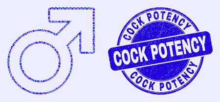 Geometric male symbol mosaic pictogram and Cock Potency stamp. Blue vector round grunge stamp with Cock Potency caption. Abstract composition of male symbol composed of round, tringle,