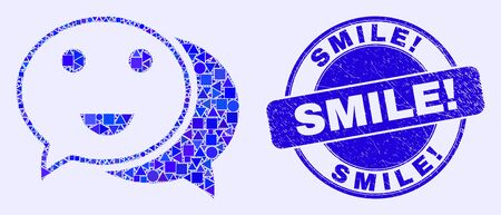 Geometric happy chat mosaic pictogram and Smile! stamp. Blue vector rounded grunge seal stamp with Smile! caption. Abstract mosaic of happy chat done of sphere, tringle, square geometric spots.