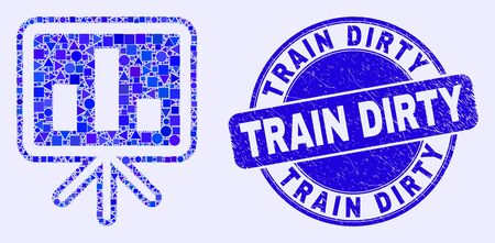 Geometric bar chart presentation mosaic pictogram and Train Dirty seal stamp. Blue vector round scratched seal stamp with Train Dirty message.