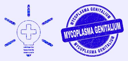 Geometric medical lamp light mosaic icon and Mycoplasma Genitalium seal stamp. Blue vector round textured seal with Mycoplasma Genitalium text.