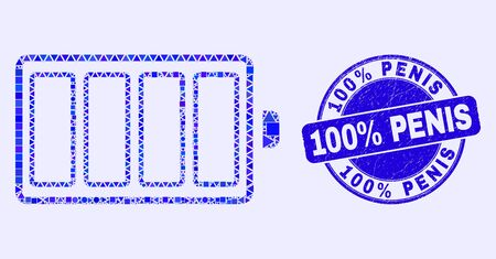 Geometric electric battery mosaic pictogram and 100% Penis stamp. Blue vector round grunge seal stamp with 100% Penis text. Abstract mosaic of electric battery designed of round, triangles,