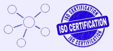 Geometric relations mosaic icon and ISO Certification seal stamp. Blue vector round distress seal stamp with ISO Certification phrase. Abstract composition of relations done of round, tringle, Ilustração