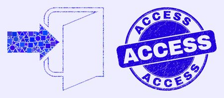 Geometric exit door mosaic pictogram and Access seal. Blue vector round textured seal with Access phrase. Abstract mosaic of exit door created of round, tringle, square geometric items. Ilustração