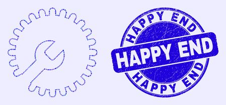 Geometric settings gear mosaic pictogram and Happy End seal. Blue vector round textured seal with Happy End title. Abstract mosaic of settings gear constructed of round, tringle,