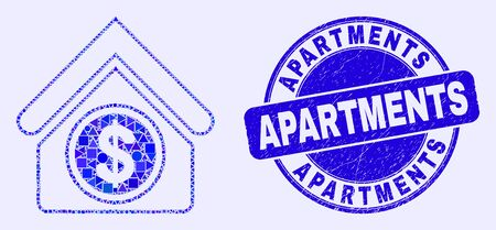 Geometric commercial building mosaic pictogram and Apartments seal stamp. Blue vector rounded distress seal stamp with Apartments title. Abstract mosaic of commercial building made of round, tringle,
