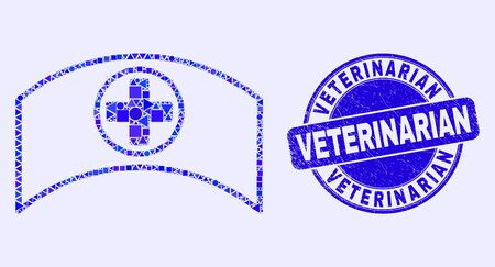 Geometric medical cap mosaic pictogram and Veterinarian seal stamp. Blue vector rounded distress seal stamp with Veterinarian message. Abstract collage of medical cap combined of round, triangles,
