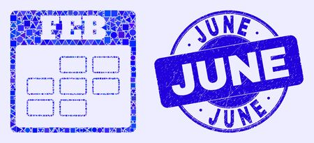 Geometric february calendar mosaic icon and June seal. Blue vector round distress stamp with June text. Abstract mosaic of february calendar composed of round, triangles, square geometric items.