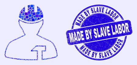Geometric repairman mosaic icon and Made by Slave Labor seal stamp. Blue vector rounded distress seal stamp with Made by Slave Labor caption. Abstract composition of repairman organized of circle, Çizim