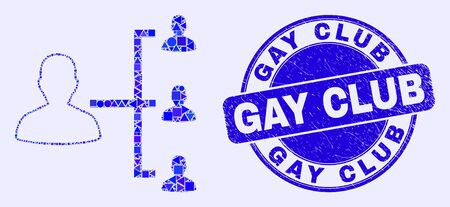 Geometric people hierarchy mosaic icon and Gay Club seal. Blue vector rounded distress seal stamp with Gay Club message. Abstract collage of people hierarchy organized of round, tringle,