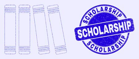 Geometric books mosaic icon and Scholarship seal stamp. Blue vector round textured seal with Scholarship text. Abstract mosaic of books made of spheric, triangles, square geometric items. Çizim