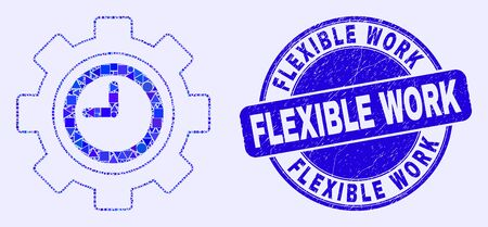 Geometric clock settings gear mosaic pictogram and Flexible Work seal stamp. Blue vector round textured seal stamp with Flexible Work phrase. Abstract collage of clock settings gear combined of round, Çizim