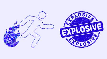 Geometric person running away from fire mosaic pictogram and Explosive seal. Blue vector round distress seal with Explosive title. Çizim