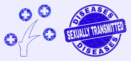Geometric medical tree mosaic pictogram and Diseases Sexually Transmitted stamp. Blue vector rounded grunge seal stamp with Diseases Sexually Transmitted phrase.