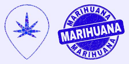 Geometric cannabis map marker mosaic pictogram and Marihuana seal stamp. Blue vector round textured seal stamp with Marihuana caption. Abstract mosaic of cannabis map marker combined of spheric,