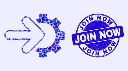 Geometric integration gear mosaic icon and Join Now seal. Blue vector round grunge seal with Join Now caption. Abstract mosaic of integration gear done of round, triangles, square geometric elements.
