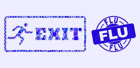 Geometric emergency exit mosaic pictogram and Flu seal. Blue vector round distress seal stamp with Flu message. Abstract mosaic of emergency exit created of round, triangles, square geometric spots.