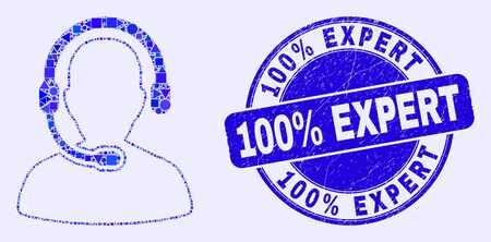 Geometric call center operator mosaic icon and 100% Expert seal stamp. Blue vector rounded distress stamp with 100% Expert title. Abstract mosaic of call center operator combined of circle, triangles, Çizim