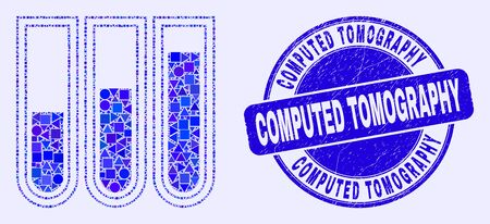Geometric test-tubes mosaic icon and Computed Tomography seal stamp. Blue vector rounded scratched seal stamp with Computed Tomography caption. Abstract composition of test-tubes designed of sphere,