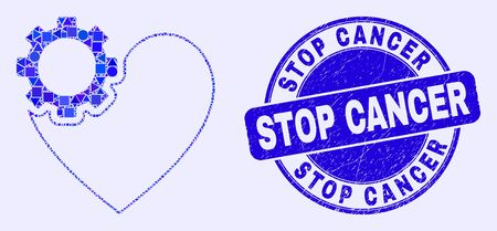Geometric heart gear mosaic pictogram and Stop Cancer seal stamp. Blue vector rounded distress seal stamp with Stop Cancer text. Abstract composition of heart gear combined of circle, tringle,
