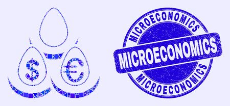 Geometric currency deposit eggs mosaic icon and Microeconomics seal stamp. Blue vector round textured seal stamp with Microeconomics message. Çizim