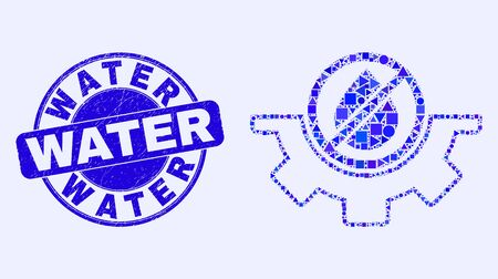 Geometric water service mosaic icon and Water seal stamp. Blue vector round grunge seal with Water message. Abstract mosaic of water service combined of spheric, triangles, square geometric spots. Çizim