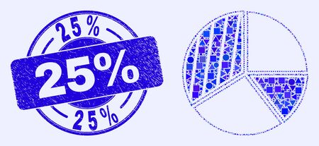 Geometric pie chart mosaic icon and 25% seal stamp. Blue vector rounded distress seal stamp with 25% phrase. Abstract mosaic of pie chart created of circle, tringle, square geometric elements.