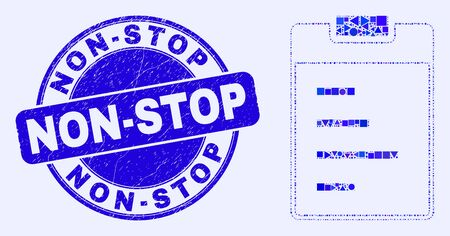Geometric text pad mosaic pictogram and Non-Stop seal stamp. Blue vector round scratched seal stamp with Non-Stop caption. Abstract mosaic of text pad organized of round, tringle,