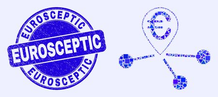 Geometric euro location links mosaic icon and Eurosceptic seal. Blue vector round textured seal with Eurosceptic phrase. Abstract mosaic of euro location links designed of spheric, triangles, Çizim