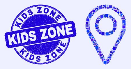 Geometric map pointer mosaic pictogram and Kids Zone watermark. Blue vector round distress stamp with Kids Zone title. Abstract mosaic of map pointer constructed of round, triangles,
