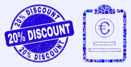 Geometric euro price pad mosaic pictogram and 20% Discount stamp. Blue vector round scratched seal with 20% Discount phrase. Abstract mosaic of euro price pad done of round, triangles,