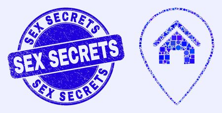 Geometric house map marker mosaic icon and Sex Secrets seal stamp. Blue vector rounded scratched seal stamp with Sex Secrets caption. Abstract mosaic of house map marker combined of circle, triangles, Çizim