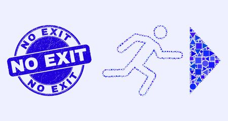 Geometric exit person mosaic icon and No Exit seal. Blue vector round distress seal with No Exit message. Abstract mosaic of exit person composed of spheric, triangles, square geometric items.