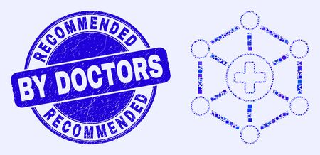 Geometric medical center links mosaic icon and Recommended By Doctors seal stamp. Blue vector rounded grunge seal stamp with Recommended By Doctors caption.