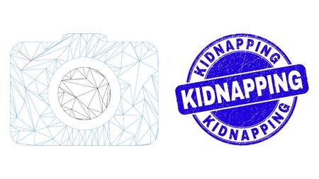 Web mesh photo camera pictogram and Kidnapping stamp. Blue vector round grunge stamp with Kidnapping phrase. Abstract carcass mesh polygonal model created from photo camera pictogram.