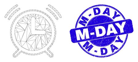 Web carcass alarm clock pictogram and M-Day seal stamp. Blue vector round scratched seal stamp with M-Day message. Abstract carcass mesh polygonal model created from alarm clock icon.
