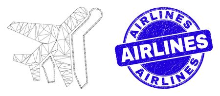 Web mesh aviation icon and Airlines stamp. Blue vector rounded distress seal stamp with Airlines title. Abstract frame mesh polygonal model created from aviation icon.