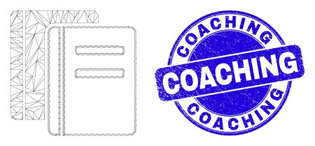 Web carcass books icon and Coaching seal stamp. Blue vector rounded scratched seal stamp with Coaching caption. Abstract carcass mesh polygonal model created from books pictogram.