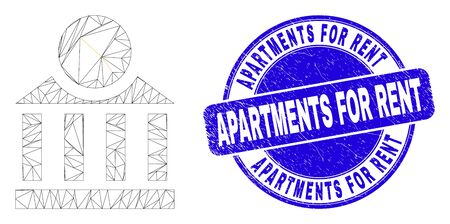 Web mesh dollar bank pictogram and Apartments for Rent stamp. Blue vector round grunge seal with Apartments for Rent title. Abstract carcass mesh polygonal model created from dollar bank pictogram. Illustration