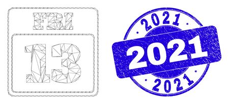 Web carcass 13th Friday calendar page pictogram and 2021 seal stamp. Blue vector rounded scratched seal stamp with 2021 title.