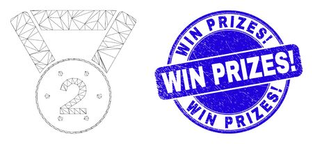Web carcass 2nd place medal pictogram and Win Prizes! seal stamp. Blue vector round grunge stamp with Win Prizes! phrase. Abstract carcass mesh polygonal model created from 2nd place medal pictogram.