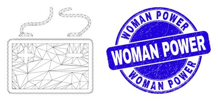 Web mesh accumulator battery icon and Woman Power seal stamp. Blue vector rounded distress seal stamp with Woman Power phrase.