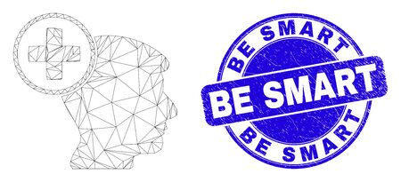 Web mesh head medicine icon and Be Smart seal stamp. Blue vector rounded grunge seal stamp with Be Smart caption. Abstract frame mesh polygonal model created from head medicine pictogram.