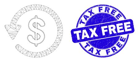 Web mesh dollar refund pictogram and Tax Free stamp. Blue vector round grunge stamp with Tax Free phrase. Abstract carcass mesh polygonal model created from dollar refund pictogram.