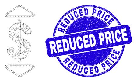 Web mesh dollar up down pictogram and Reduced Price seal stamp. Blue vector rounded distress seal stamp with Reduced Price caption.