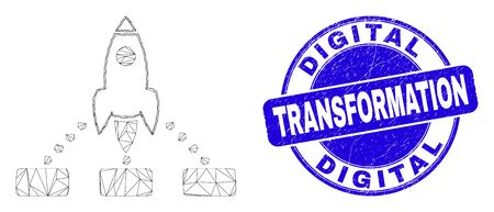 Web mesh rocket links pictogram and Digital Transformation seal. Blue vector round scratched seal with Digital Transformation text. Ilustrace
