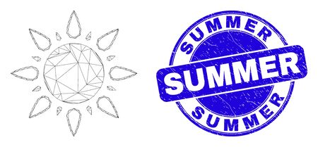 Web mesh sun icon and Summer seal. Blue vector rounded scratched seal with Summer message. Abstract frame mesh polygonal model created from sun icon. Linear frame flat network in vector format.