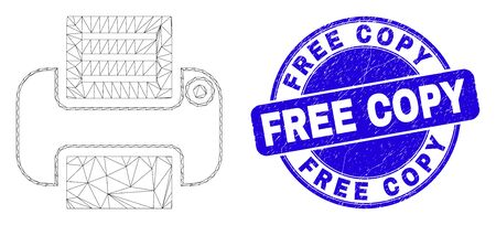 Web carcass printer pictogram and Free Copy seal stamp. Blue vector rounded textured seal stamp with Free Copy caption. Abstract carcass mesh polygonal model created from printer icon.